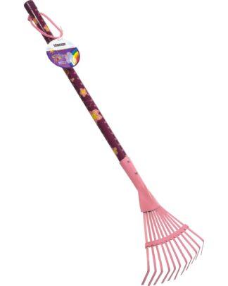 παιδική τσουγκράνα-σκούπα γκαζόν - ροζ-μωβ- stocker 2302