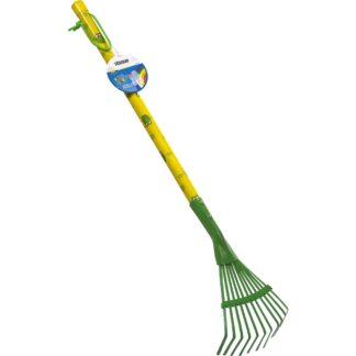 παιδική τσουγκράνα-σκούπα γκαζόν - πράσινο-κίτρινο- stocker 2305