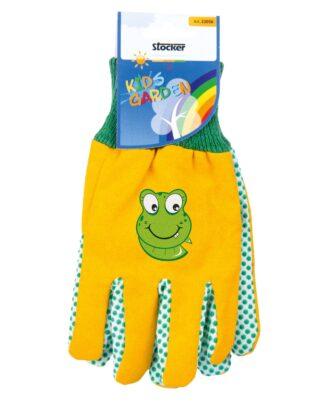 παιδικά γάντια κήπου - κίτρινο-πράσινο με βατραχάκι - 22056