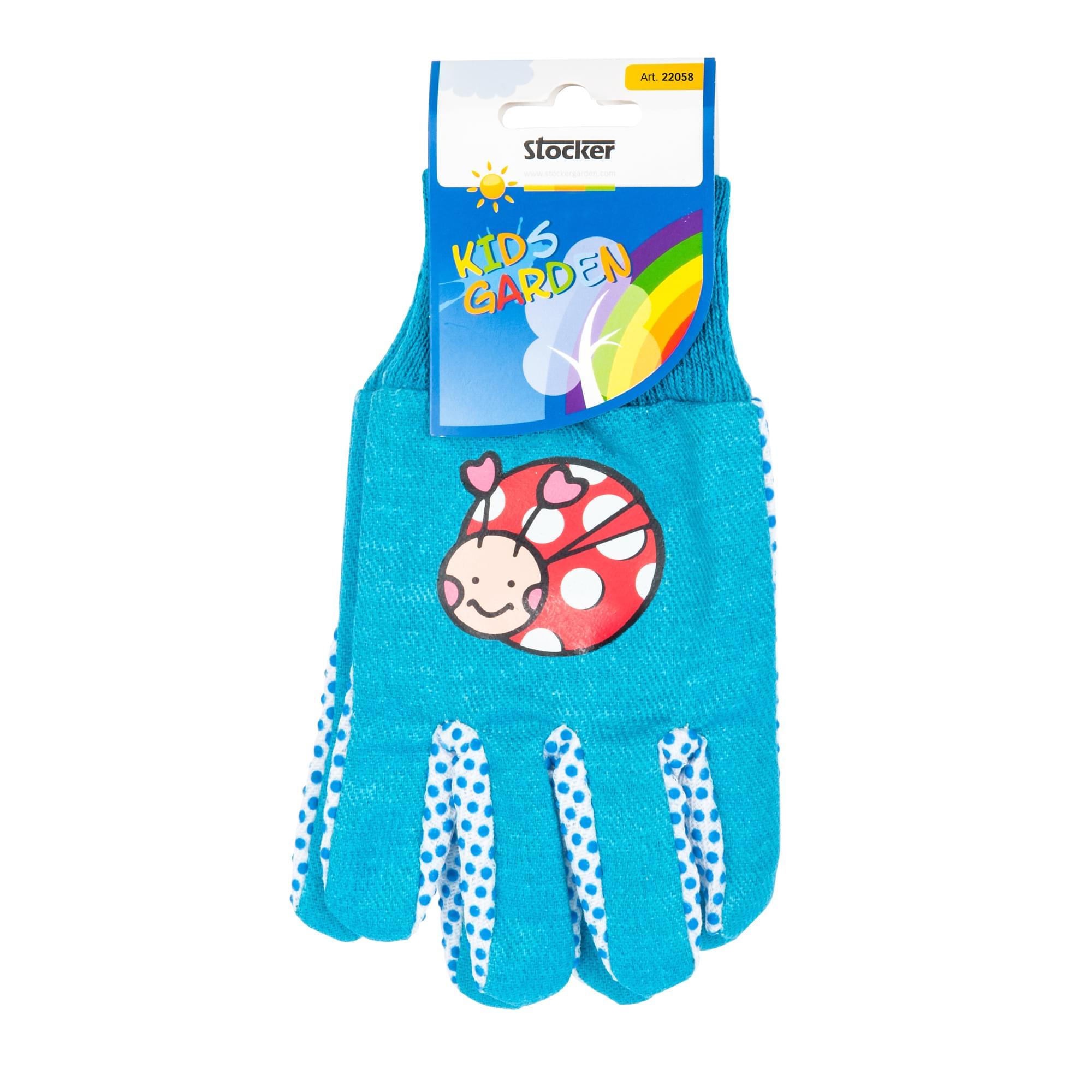 παιδικά γάντια κήπου - γαλάζιο-μπλε με πασχαλίτσα - 22058