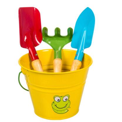 σετ μεταλλικό κουβαδάκι με παιδικά εργαλεία - κίτρινο με βατραχάκι - stocker 2322