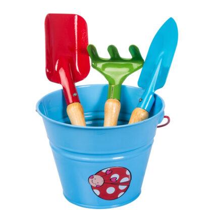 σετ μεταλλικό κουβαδάκι με παιδικά εργαλεία - μπλε με πασχαλίτσα - stocker 2326