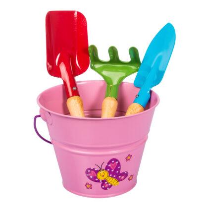 σετ μεταλλικό κουβαδάκι με παιδικά εργαλεία - ροζ με πεταλούδα - stocker 2329